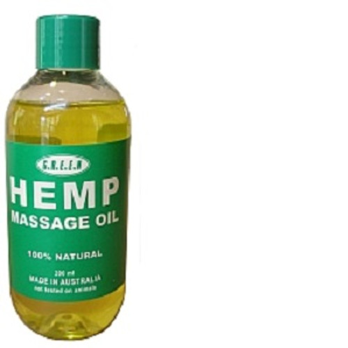 Hemp Massage Oil 200ml 100% Natural, Chemical No added fragrance. Rich in hemp seed oil. Hemp Seed Oil blended with Almond and Jojoba Oil. 100% Natural, Chemical free. Australian grown, cold pressed, food grade hemp seed oil. Hemp Seed Oil is the most perfectly balanced oil, containing omegas 3, 6 and 9 which is a part of the reason why hemp seed oil is especially effective at repairing and moisturising our skin.  The ESSENTIAL FATTY ACIDS (EFA) are absorbed into our skin cells and replenish damaged lipids and repair damaged skin. Hemp Seed Oil contains some of the highest known levels of essential fatty acids in the plant kingdom. EFAs are essential to the human body for growth and healthy living. The high concentration of EFAs makes hemp seed oil an ideal treatment for dry skin (deficient in EFAs)  Please note: The consumption of Hemp Seed Oil in Australia is currently illegal. Please massage the oil into the skin.