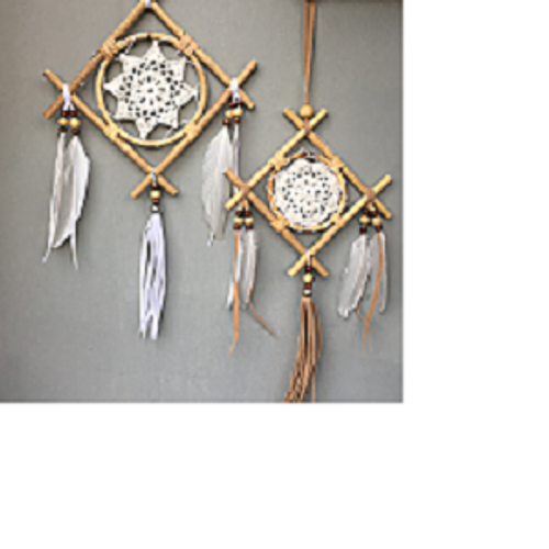 Square Dreamcatcher Pretty with crotched centre, beads & tassels. Choose from large approx 20 x 20cm or small approx 15 x 15cm