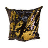 Decorative Sequin Throw Pillow 17x17 Inch, Comfortable Fill For Living Room, Couch, Bedroom, Fun Mermaid Reversible Style BLACK / GOLD (K-PT057111)