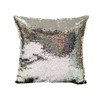 Decorative Sequin Throw Pillow 17x17 Inch, Comfortable Fill For Living Room, Couch, Bedroom, Fun Mermaid Reversible Style BLACK / SILVER (K-PT057128)