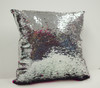 Decorative Sequin Throw Pillow 17x17 Inch, Comfortable Fill For Living Room, Couch, Bedroom, Fun Mermaid Reversible Style Fuchsia / Silver
