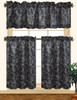 Chelsea 3pc Scroll Embroidered Decorative Kitchen Curtain Set