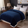 Soft Plush Reversible Corduroy / Sherpa Lined Oversized Bed Blanket, Queen, King