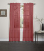 Lisa Sheer Voile Window Curtain Panel - Red