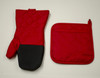 2 Piece Pot Holder & Oven Mitt Kitchen Accessories Set Burgundy Red