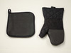 2 Piece Pot Holder & Oven Mitt Kitchen Accessories Set Black