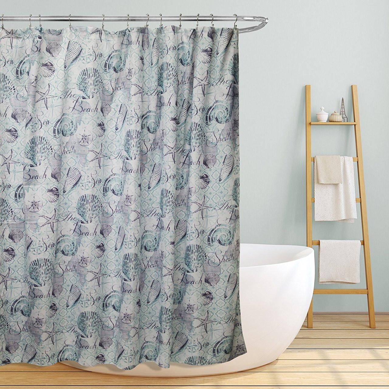 Linen Store Fabric Canvas Shower Curtain 70x70 Marina Beach