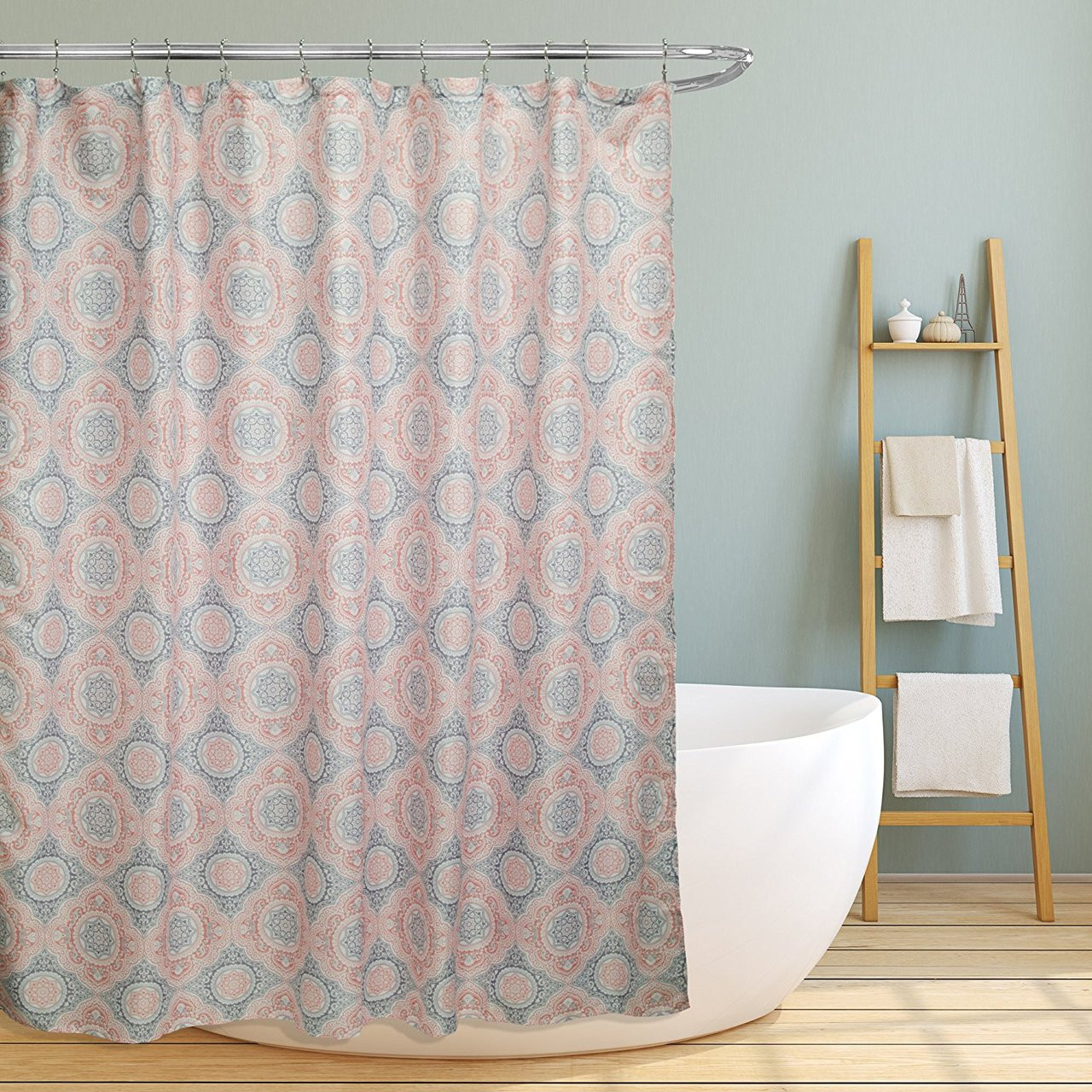 Linen Store Fabric Canvas Shower Curtain 70x70 Casey Contemporary Geometric