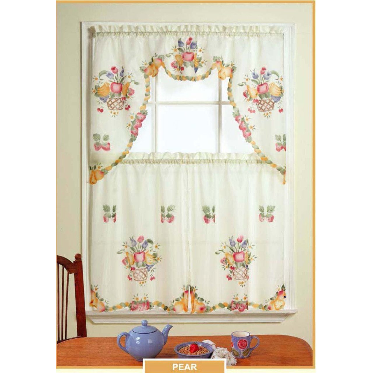 Sheradian 3 Piece Fruit Printed Kitchen Curtain Set   Pear