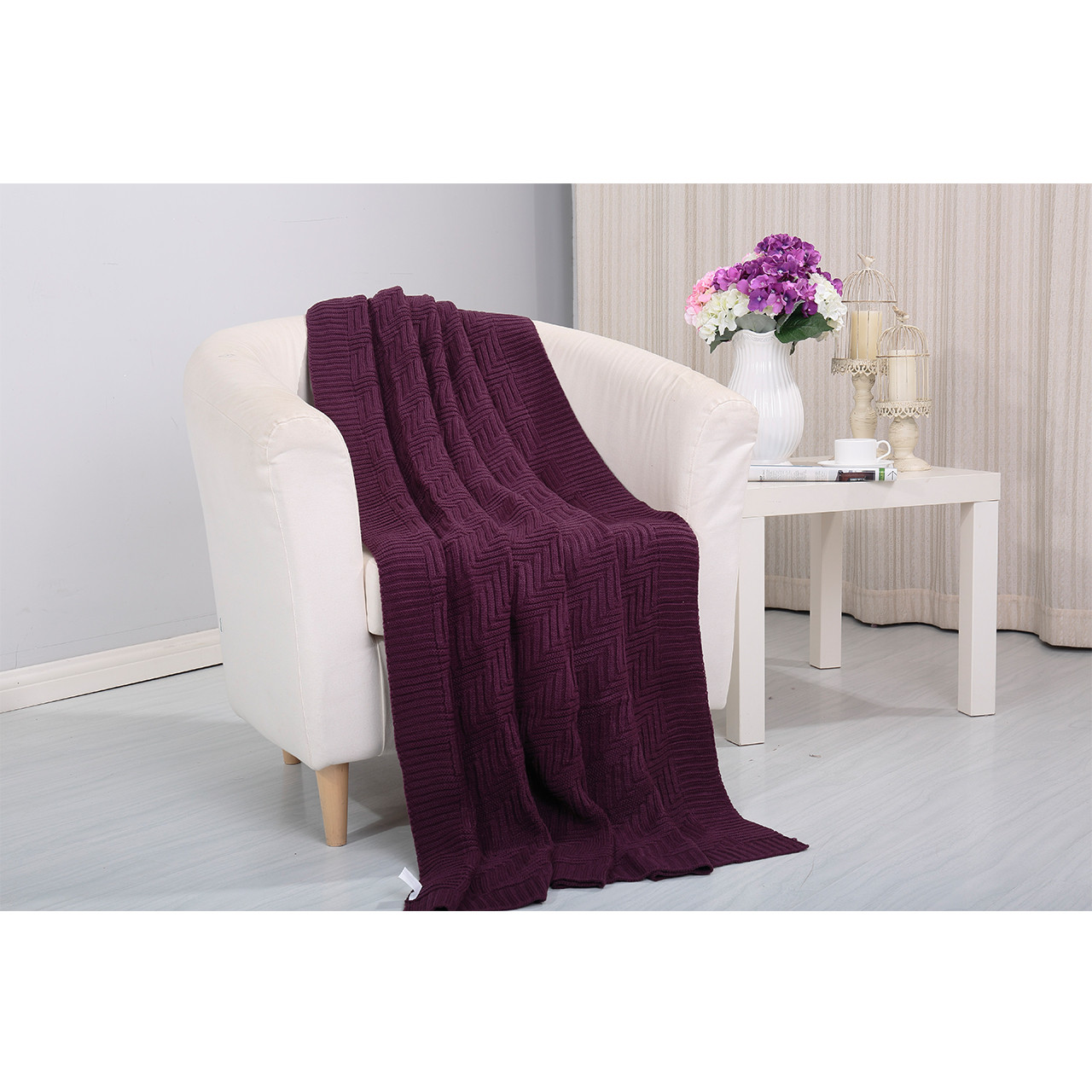 Pietra Knitted Throw Couch Cover Sofa Blanket, 50x60, Purple  Main