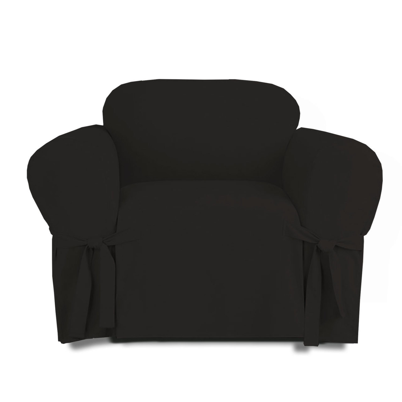 Beau Linen Store Microsuede Slipcover, Furniture Protector Cover Chair Black