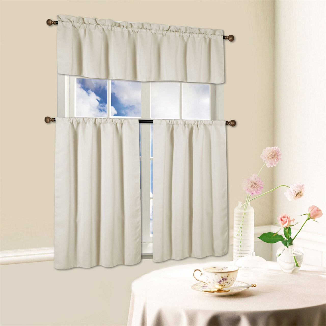 Window Kitchen Curtain Beth 3 Piece Energy Efficient Blackout Set