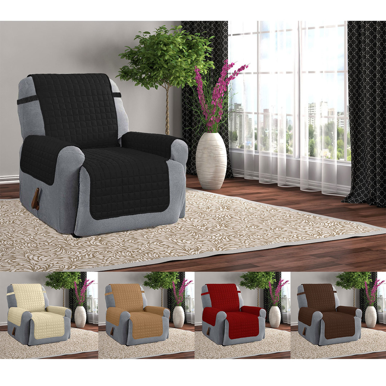 Quilted Microfiber Furniture Recliner Pet Protector Cover With Tucks U0026 Strap