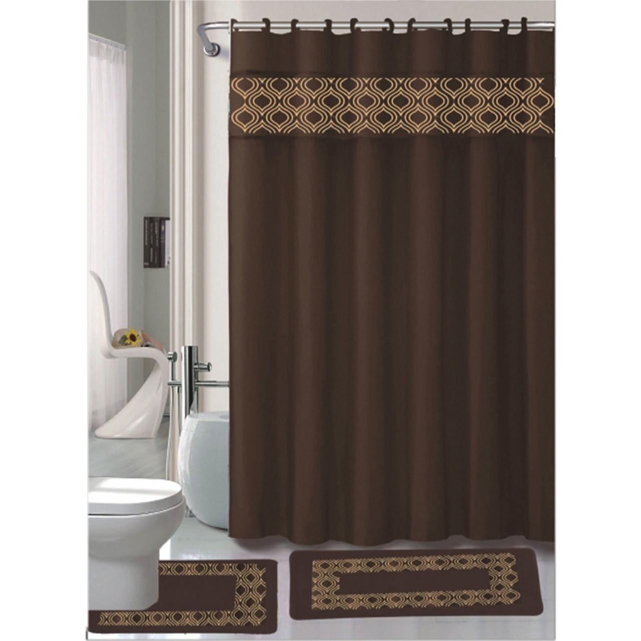 15 Pc Bathroom Accessories Set, Bath Mat, Contour Rug, Shower ...