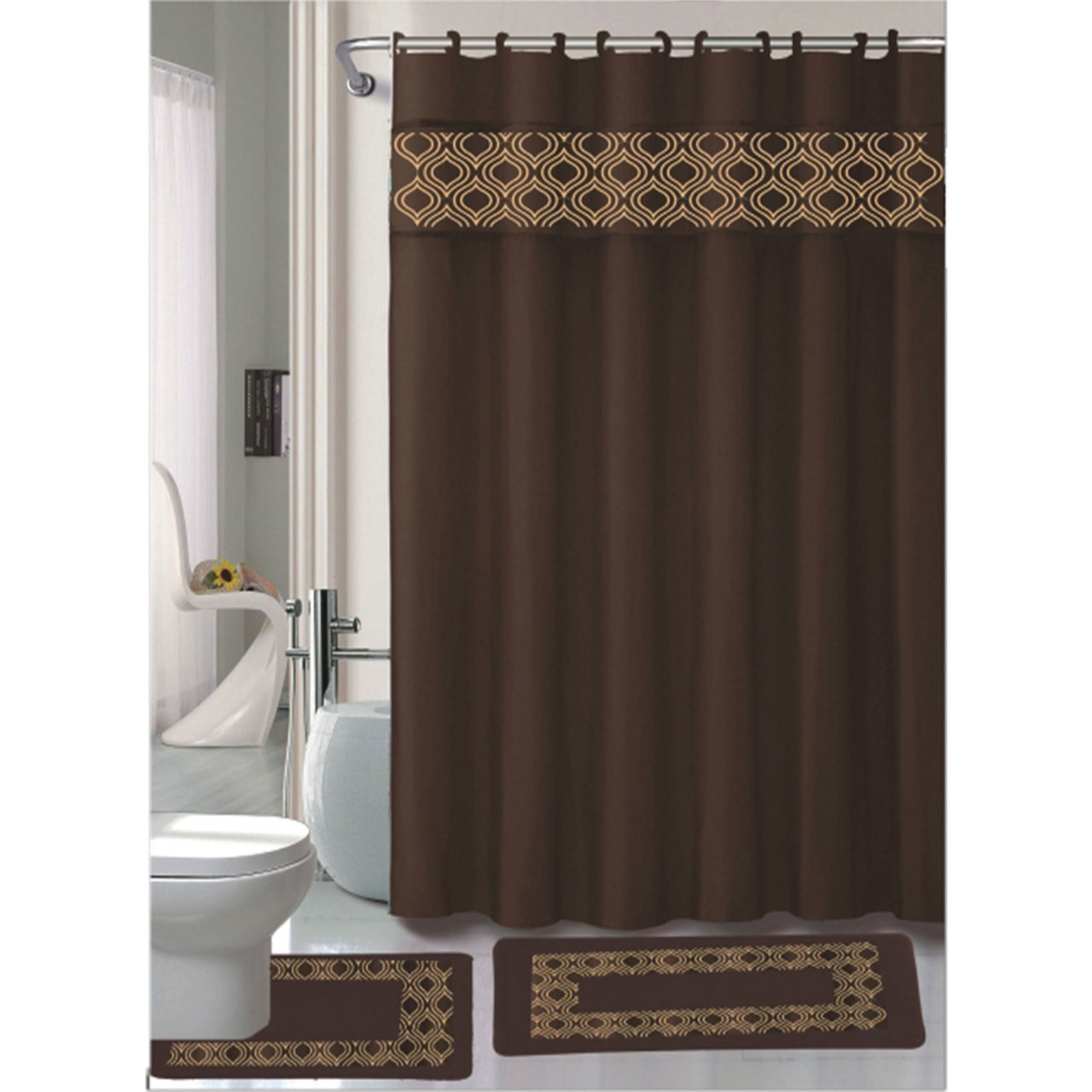 Gabrielle Chocolate 15 Pc Bathroom Accessories Set, Bath Mat, Contour Rug, Shower  Curtain