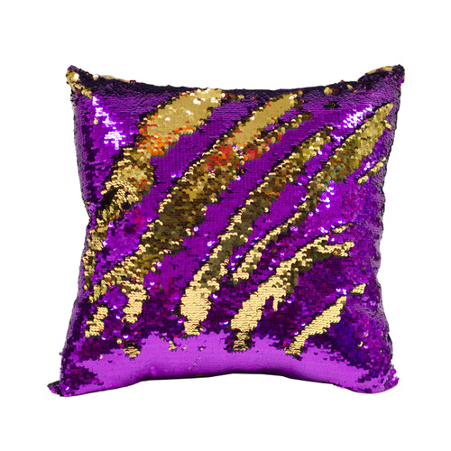 Decorative Sequin Throw Pillow 17x17 Inch, Comfortable Fill For Living Room, Couch, Bedroom, Fun Mermaid Reversible Style Purple / Gold (K-PT057791)