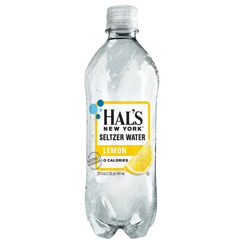 Hal's New York Seltzer Water Lemon 20 Oz (24 Pack)