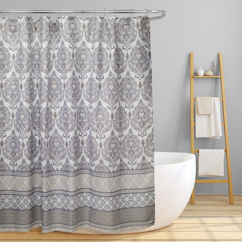 "Fabric Canvas Shower Curtain, 70""x70"", Morgan, Geometric Damask Inspired Design"