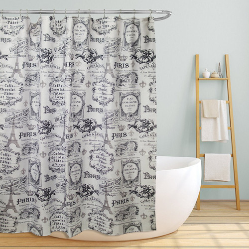 "Linen Store Fabric Canvas Shower Curtain, 70""x70"", Paris, Paris & Eiffel Inspired Design"