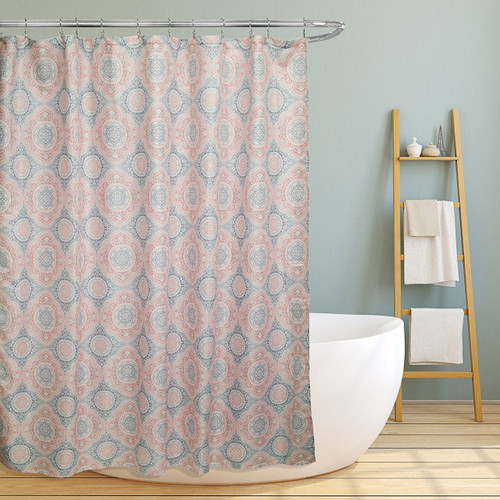 "Linen Store Fabric Canvas Shower Curtain, 70""x70"", Casey, Contemporary Geometric Coral/Grey Medallion Inspired Design"