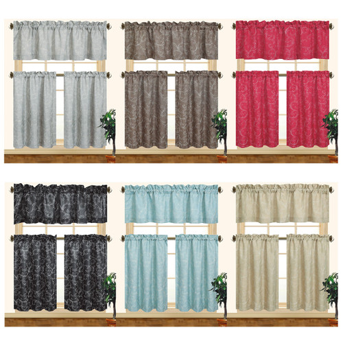 Embroidered Kitchen Curtain Set, Complete Tier And Swag