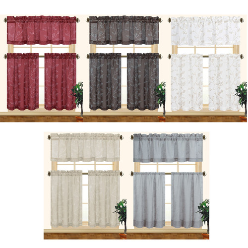 Fiona 3pc Leaves Embroidered Decorative Kitchen Curtain Set