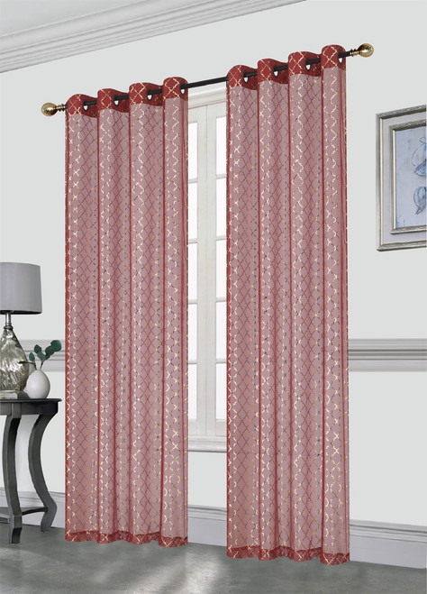 Kashi Home Addison Decorative Foil Printed Sheer Window Curtain Panel With Metal Grommets, 54x84 Inch, 2 Pack