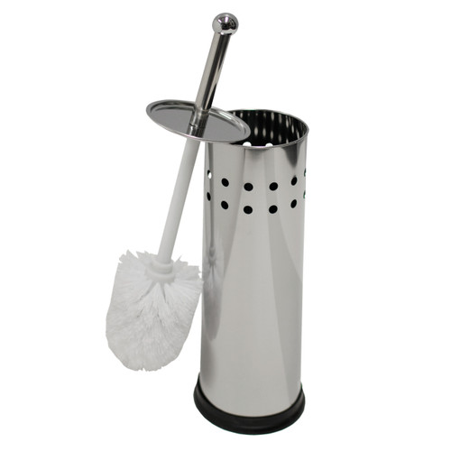Oasis Collection Stainless Steel Toilet Brush & Holder, TB029915, Circle Punch Design Mirror Finish