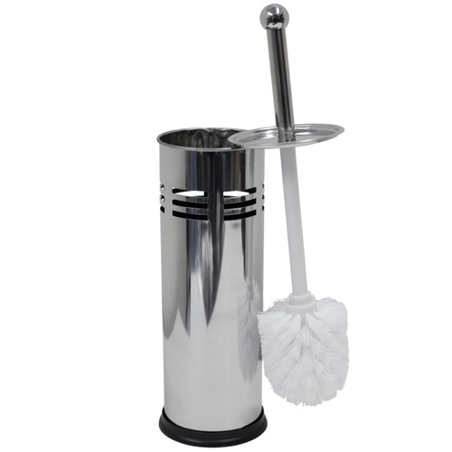 Oasis Collection Stainless Steel Toilet Brush & Holder, TB029922, Line Punch Design Mirror Finish