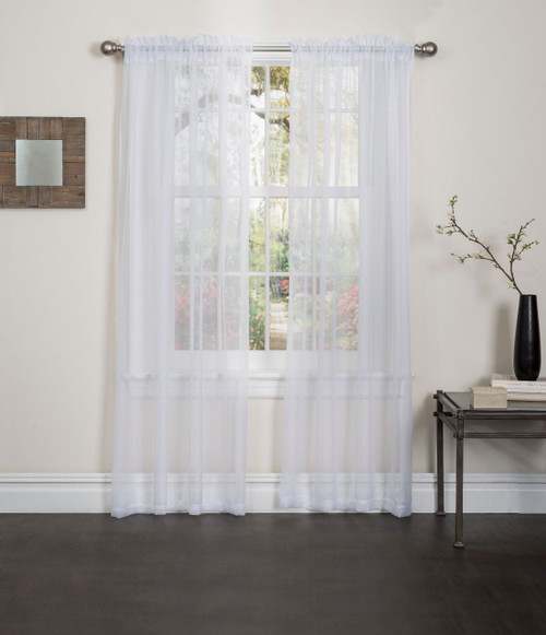 "Linen Store 2 Piece 54""x84"" Sheer Voile Window Curtain Rod Pocket Panels"
