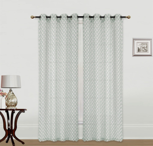 Kashi Home 2 Piece Savannah 54x84 Decorative Moroccan Printed Crushed Sheer Curtain Panels for Living Room Bedroom Window Door Grommet Top