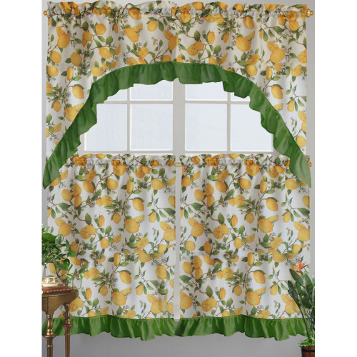 Kashi Home CeCe Kitchen Curtain Swag Set, Lemon Printed Design