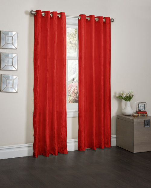 "Sherry Crushed Satin Window Curtain Panel - 52""x84"" - Red"
