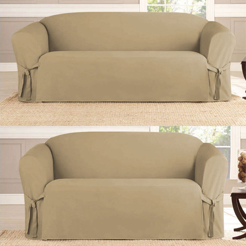 Taupe 2-Piece Microsuede Slipcover Set