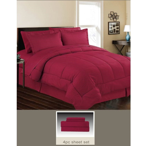 Luxurious Down Alternative 5 Piece Bed Set, Comforter and Sheets, King, Queen, 7 Colors