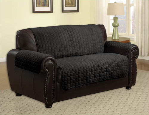 ... Quilted Microfiber Pet Dog Couch Furniture Protector Black   Loveseat  ...