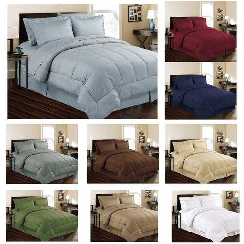 Manhattan Light Embossed Dobby Stripe Microfiber 8 Piece Bed In A Bag