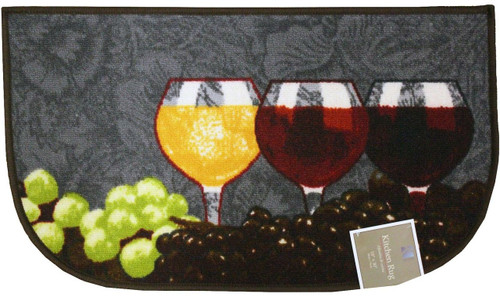 "D-Shape Latex Back Napa Kitchen Rug, Area Rug, Mat, Carpet – 18""x30"""