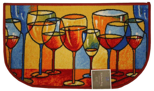 "D-Shape Latex Back Merlot Kitchen Rug, Area Rug, Mat, Carpet – 18""x30"""
