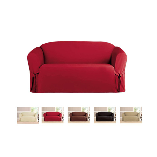 Kashi Home Micro-Suede Loveseat Slipcover - Ruby