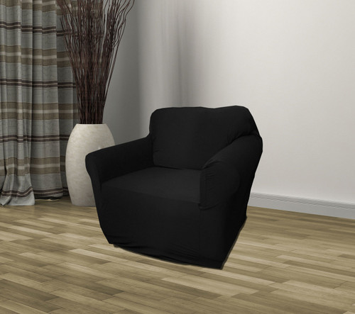 Kashi Home Stretch Jersey Chair Slipcover   Black