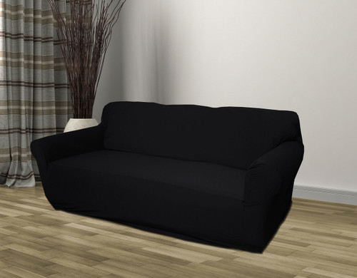 Kashi Home Stretch Jersey Sofa Slipcover   Black (K SC020597)