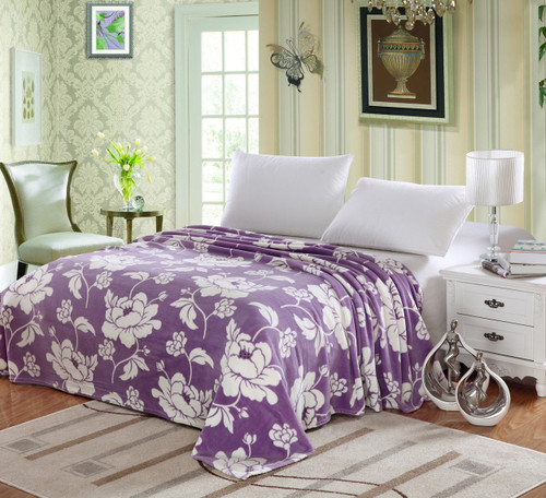 Micro Plush Floral Printed Blanket, King, Queen, Full, Twin - Purple