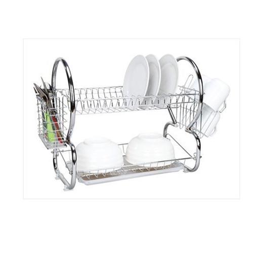 Home Basics 2-Tier Dish Drainer, Dish Rack, Chrome