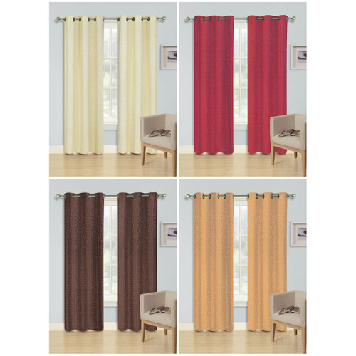 "Energy Efficient Grommet Top Foam Backed Jacquard Blackout Curtain Panel, Valentina, 54""x84"""