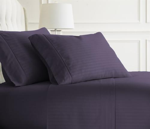 Embossed Dobby Stripe Sheet Set Purple
