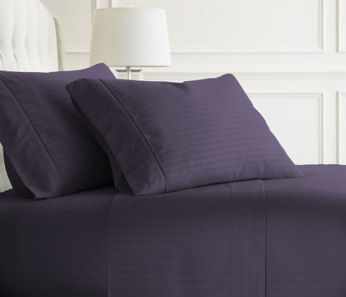 Charmant Embossed Dobby Stripe Sheet Set Purple