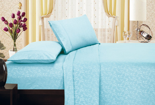 Brushed Microfiber 1800 Series Embossed Flower Sheet Set, Fitted Sheet, Flat Sheet, Pillowcases - Blue