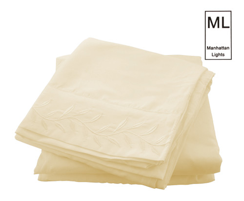 Manhattan Lights Brushed Microfiber Embroidered 4 Piece Sheet Set, Fitted Sheet, Flat Sheet, Pillowcases - Ivory
