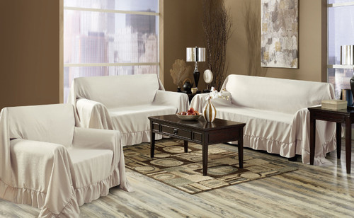 Ivory Venice 3 Piece Throw Cover Set. Sofa, Loveseat U0026 Chair Furniture  Protectors.
